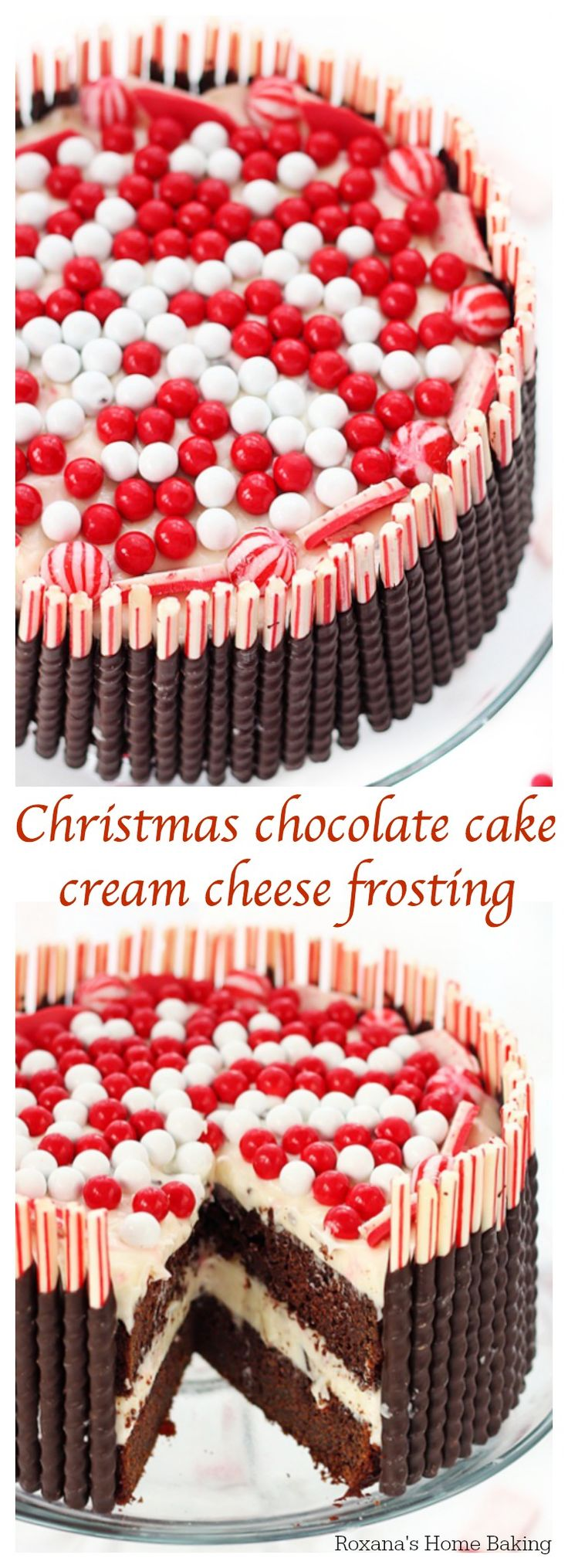 Soft, airy, moist and rich chocolate cake layered with peppermint-bark cream cheese frosting and decorated with Christmas Candy. A cake to impress.