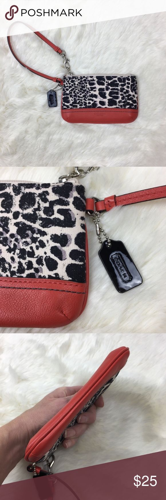 "Coach Legacy Ocelot Print Small Wristlet NWOT COACH Legacy Ocelot Print Small Wristlet #47999. Color: Natural Carnelian MEASURES 6 1/4"" W x 4""L (Approx)   New without tags.  Retired - hard to find.   An exotic print on refined linen gives a fresh look to this classic, leather-trimmed wristlet with pockets inside for all the essentials. Finished with a leather strap and iconic Coach hardware, it can be worn on the wrist or clipped inside a bag.  Never used - cleaned interior Zip Top Closure…"