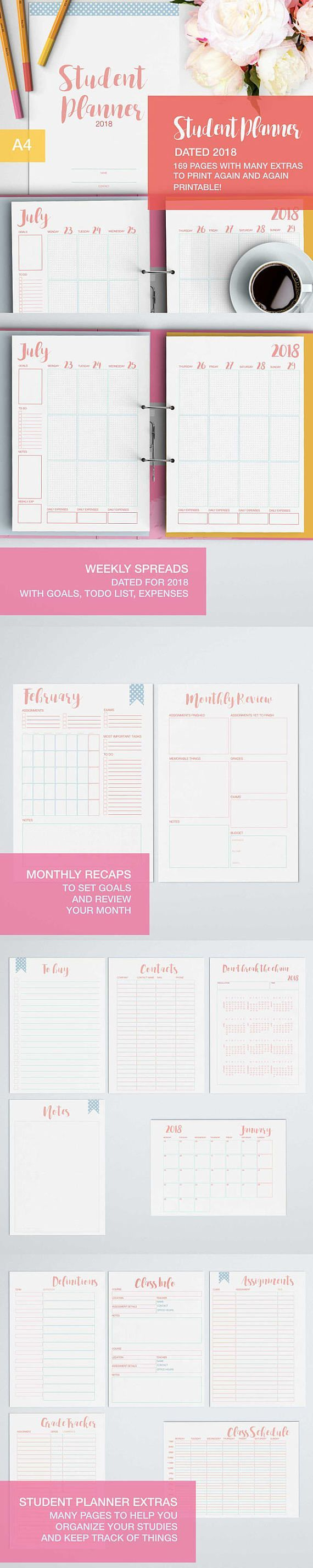 Get your college studies (and high school too) straight and organized for the next semester with this printable student planner. Its full of pages (that you can print out how many times you want) to help you track everything for your studies! from the schedules, to the class infos to your goals for the month! With 169 pages it includes really everything you need. Im keeping the price really low compared to the other planners in my shop because Ive been a student myself and I...