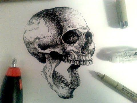 Sakura Pigma Drawing Pens Demo | Drawing a realistic skull ...