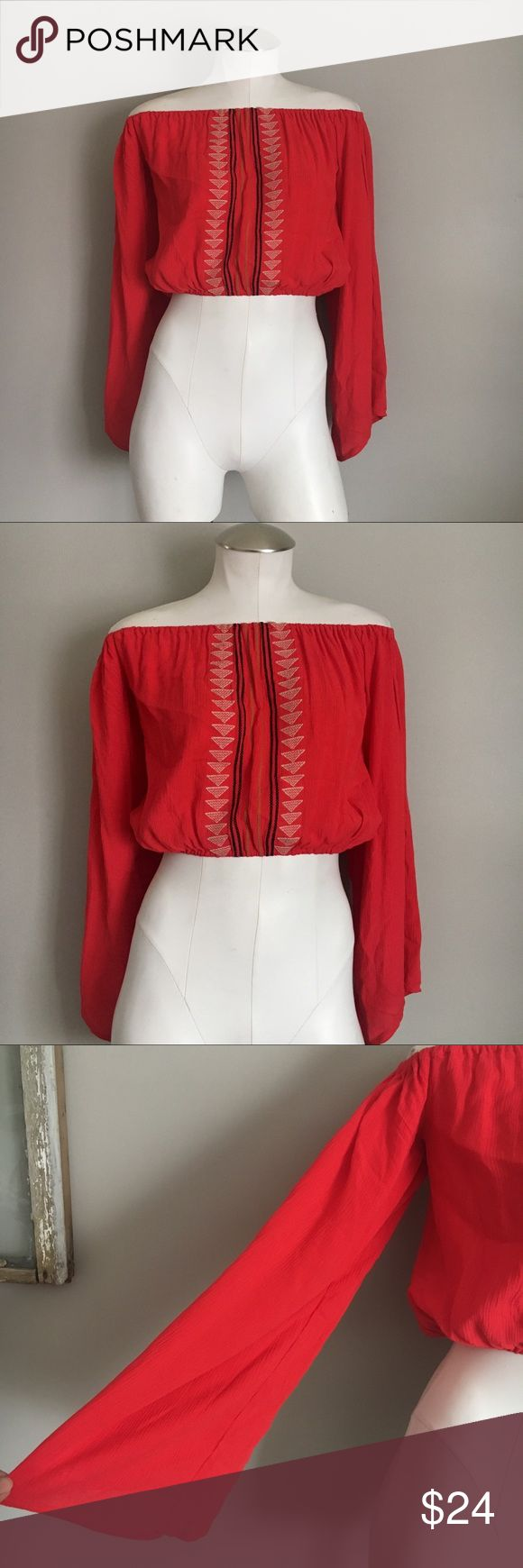 Kendall and Kylie Embroidered Bardot Crop Top Kendall and Kylie Embroidered Bardot Crop Top. Red crop bardot top with embroidery detail. Long sleeve with wide sleeves. 100% rayon. 28 in. bust. 15 in. length.   No trades Kendall & Kylie Tops