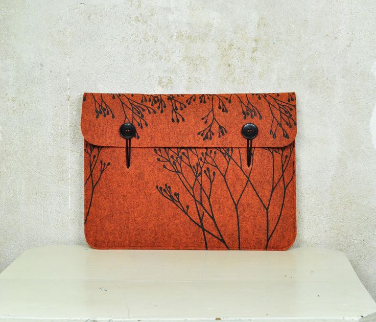 "Macbook Pro / Air 13"" Felt case - orange laptop sleeve - elegant cover with Wild Plant Pattern, original Silkscreen Printed by AkeleiDesigns on Etsy https://www.etsy.com/listing/265675521/macbook-pro-air-13-felt-case-orange"