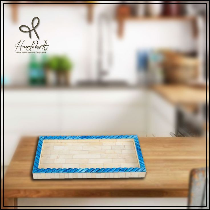 #Friday: Serve it good & in style with #blue & #white handcrafted tray by #artisans. Don't wait, order from #Handikart_india #coloroftheday