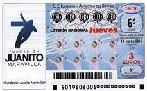 El próximo Sorteo de Lotería nacional del Jueves 10 de Marzo, a favor de la Fundación Juanito Maravilla, en apoyo a deportistas con discapacidad. Leyenda del fútbol español, dedicados a los Madridistas y a todos los amantes del deporte.Hazte con tu décimo , colabora, sólo son 3€ http://fjm7.org/