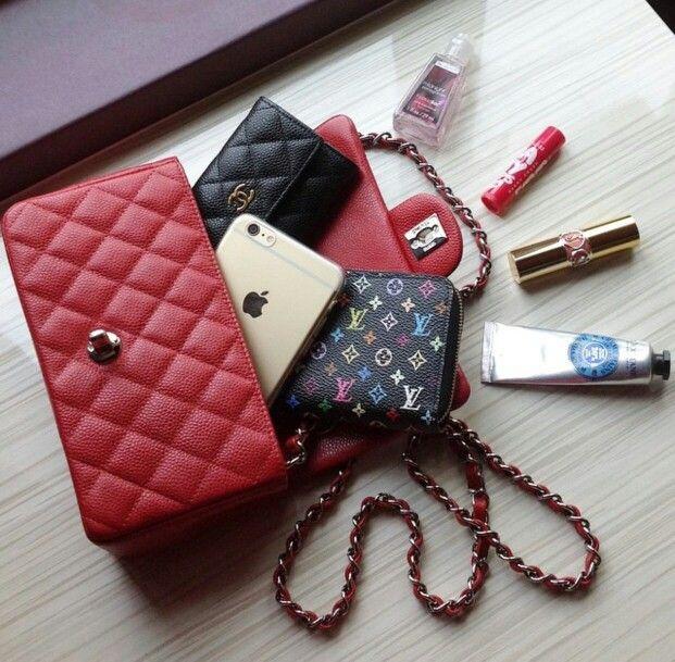 Chanel Mini Flap | New mini rectangular mini | Red 2015 Caviar - What fits inside