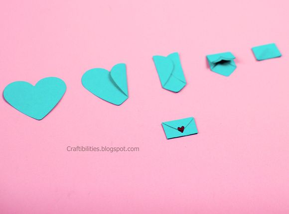 Adorable mini heart envelope - How to Cute idea for a note. Kids would love this!