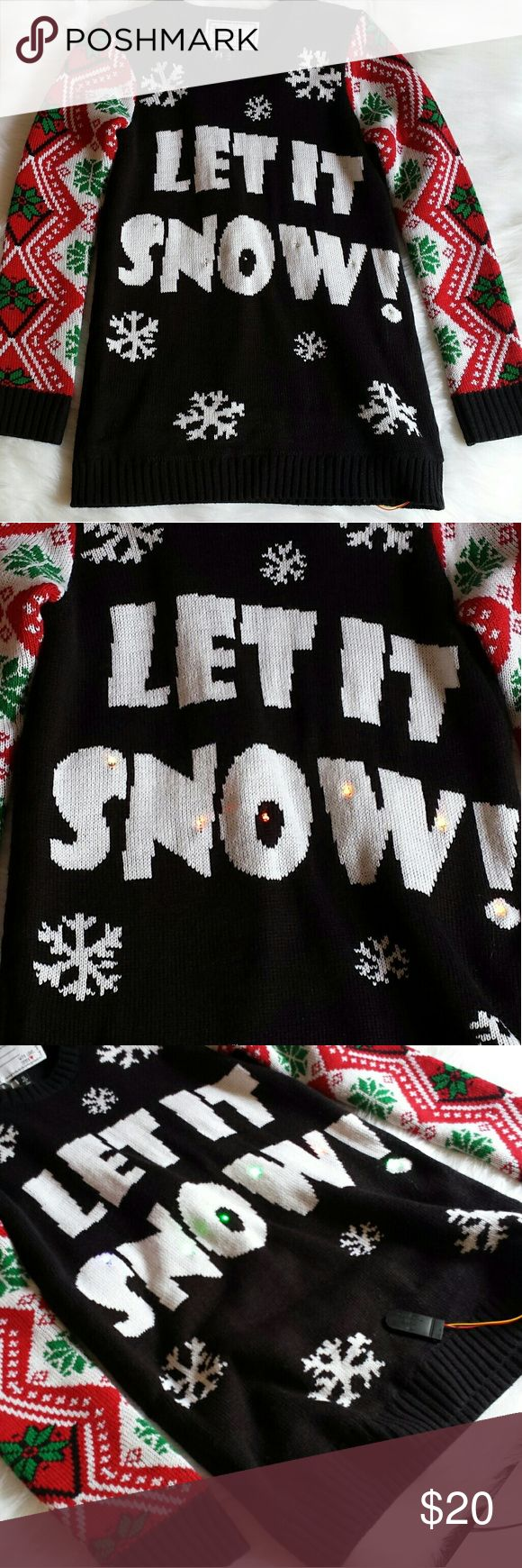 Derek heat Light up Christmas sweater Christmas sweater that lights up with a switch that fits easily in your pocket. Color changes and flashes. Used once for a party. Derek Heart Sweaters Crew & Scoop Necks