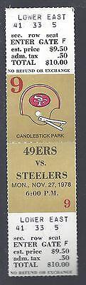 1978 NFL PITTSBURGH STEELERS @ SAN FRANCISCO 49ERS FULL UNUSED FOOTBALL TICKET
