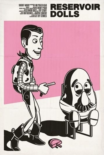 Resevoir Dolls - Graphic Design - Poster, Print, Woody, Mr. Potato Head, Toy Story, Black & White, Pink, Graphic, Illustrations