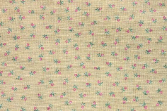 Cosecha pequeña impresión rosa en amarillo Rosa tela de algodón, letra pequeña flor Floral, acolchar coser tela Wamsutta, 1 1/2 yarda