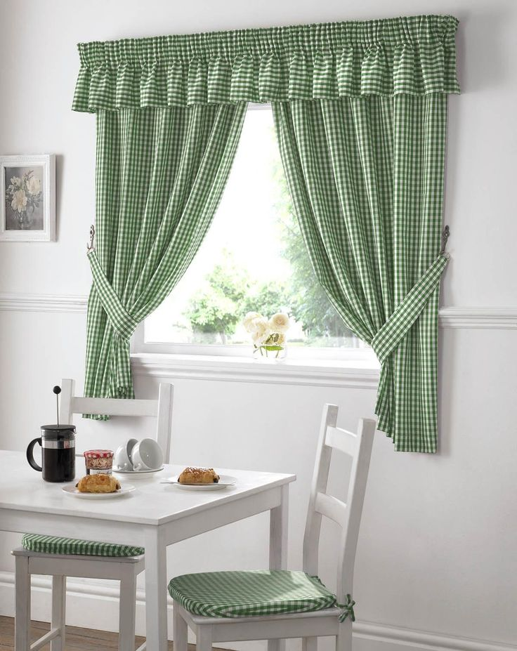 Kitchen Curtains Green Gingham