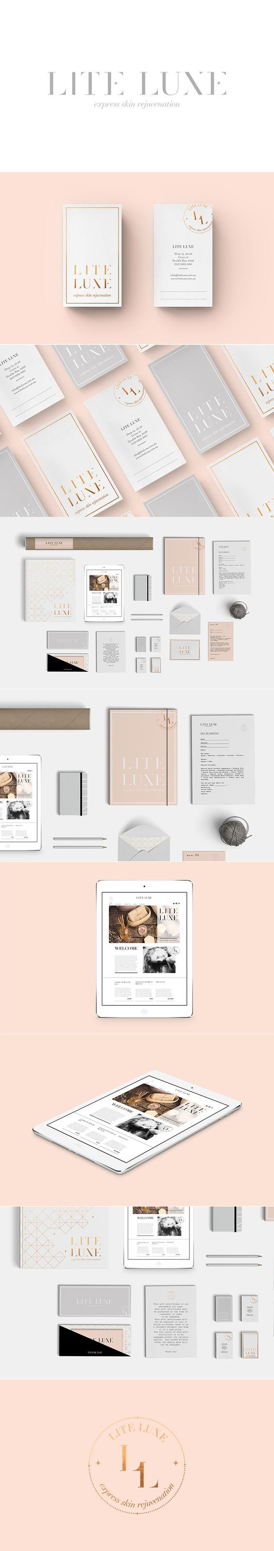 Lite Luze #stationery suite design. I love the pale colors, gold foil and simple design.: