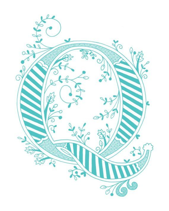 Hand drawn monogrammed print, 8x10, the Letter Q, in the color blue