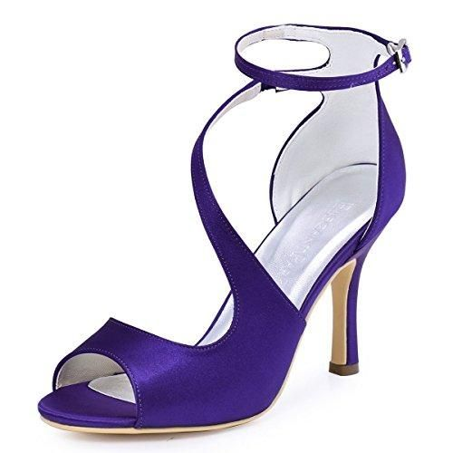 Oferta: 83.99€ Dto: -41%. Comprar Ofertas de ElegantPark HP1565 Mujer Peep Toe Sandalias Boda Tacón De Aguja Correa De Tobillo Satén Zapatos De Novia Morado 38 barato. ¡Mira las ofertas!