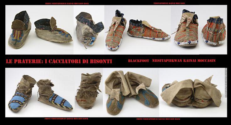 """Mocassini Nitsitapi (Niisitapiikwan-Blackfoot-Piedi Neri) del gruppo Kainai (Kainah-Káínawa-Bloods""""Sangue"""" da Akáínaa molti capi (Aka-molti Ninaa-capo) oppure kaina-molte persone capo. I loro nemici Cree li chiamavano Miko Ew-macchiata di sangue cioè sanguinari-crudeli da qui il la denominazione inglese di bloods i Sangue. Presentano risvolti sia alti che bassi."""