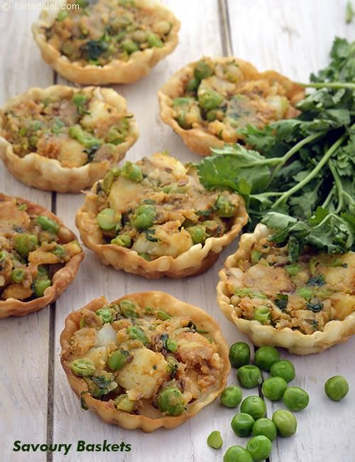 59 best starters images on pinterest indian snacks cooking food savoury baskets aloo and green peas stuffed tarts forumfinder Images