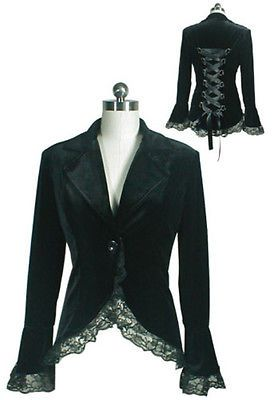 Plus Size Black Victorian Gothic Lace Trim Corset Velvet Jacket 2X 3X 4X   eBay