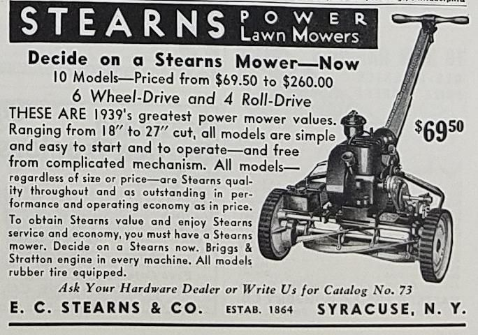 1939 Stearns Power Lawn Mower Vintage Ad