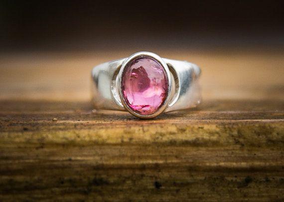 Pink Tourmaline Ring  Pink Tourmaline Cabochon by NaturalRockShop