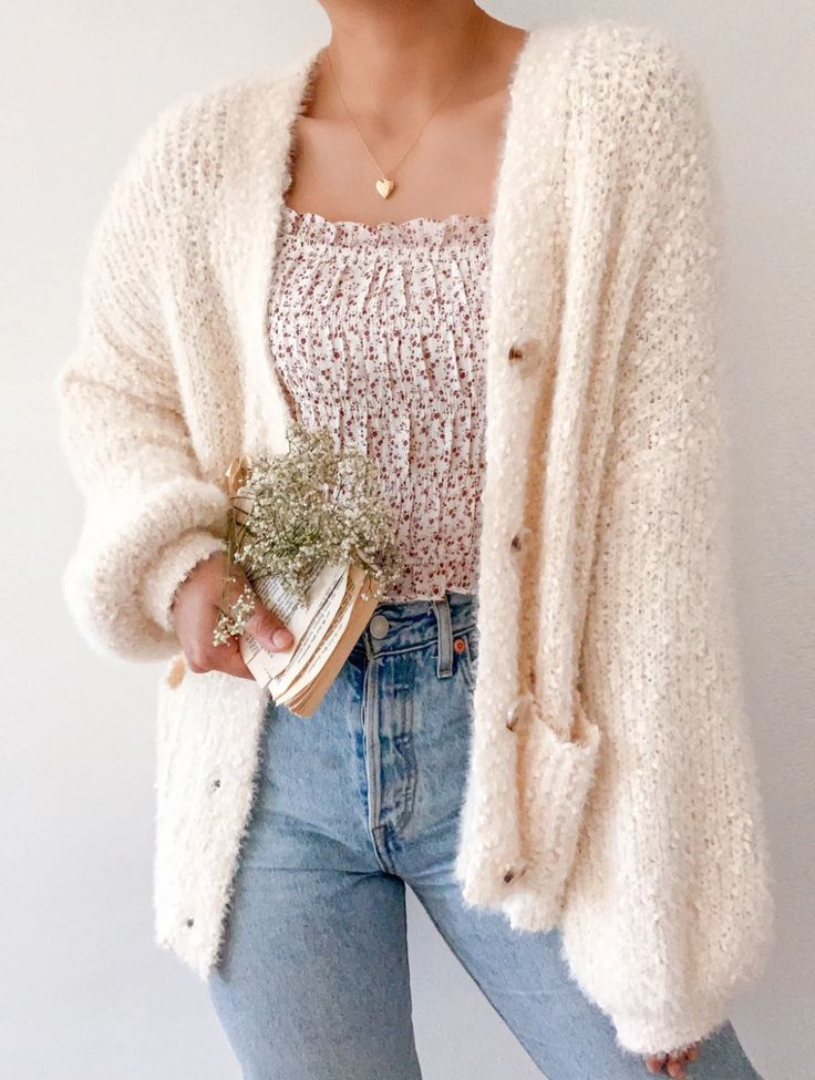 Morning Clouds Cardigan – Breath of Youth Fashion Mode, Aesthetic Fashion, Aesthetic Clothes, Girl Fashion, Cute Fashion Style, Aesthetic Sweaters, Cozy Fashion, Sweater Fashion, Cute Casual Outfits
