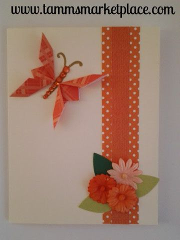 Orange Butterfly with Bling and Flowers Card - Blank Inside MKC001 – Tamm's Marketplace