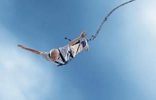 You are never too old to set a new milestone or try something daring!    The oldest person to bungee jump is Mohr Keet (b. 31 August 1913, South Africa) who completed latest jump when he was 96 years old at Blaukrans Bungee CC, South Africa, on 10 April 2010.    He was unaware that he had broken a world record until after his jump.