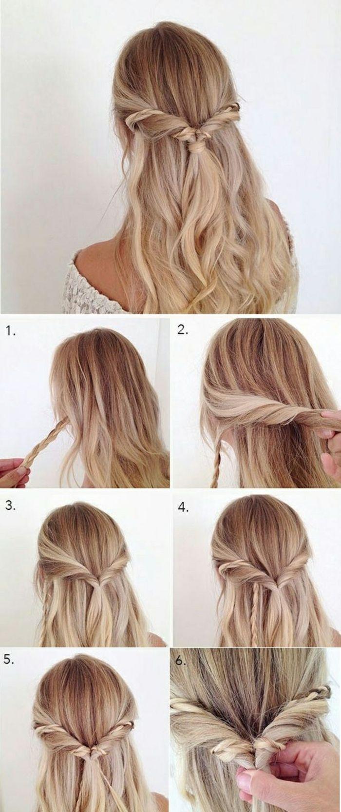 Frau Mit Blonden Haaren Und Schoner Flechtfrisur Leichte Frisuren Lange Haare Haare Einfach Flechten Frisur Hochgesteckt