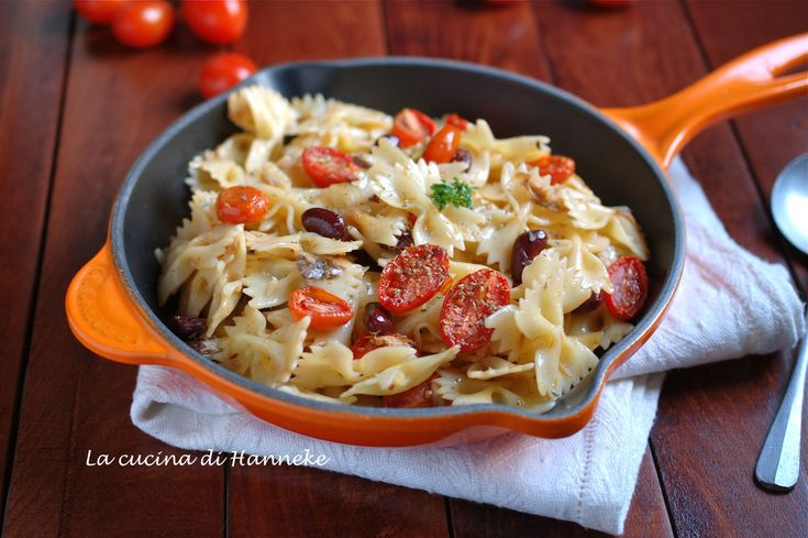 Pasta con pomodorini confit, sgombro e fagioli rossi