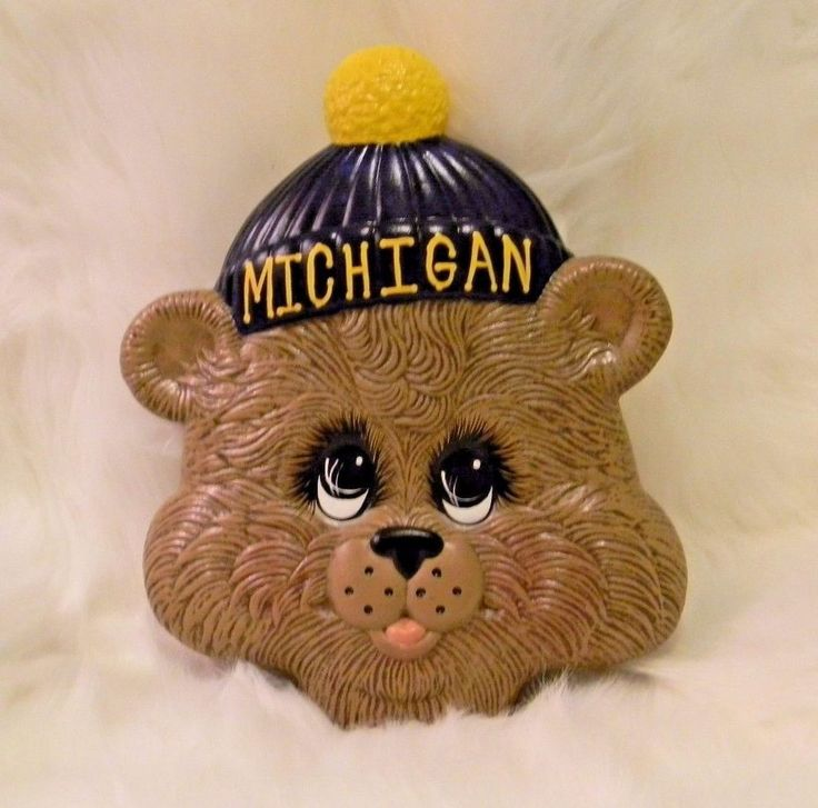 University of Michigan Teddy Bear Ceramic Head Big Eyes Weird and Whimsical OOAK #Unbranded #MichiganWolverines