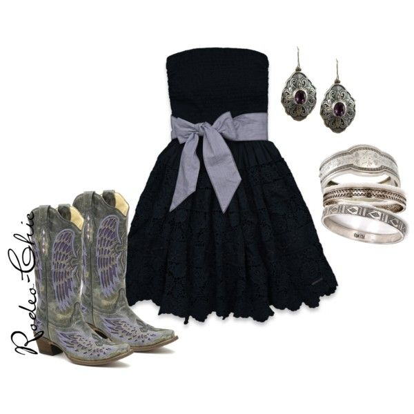 """""""Abilene"""" by rodeo-chic on Polyvore, Strapless lace dress with Corral wing cowboy boots, purple cowboy boots, western"""
