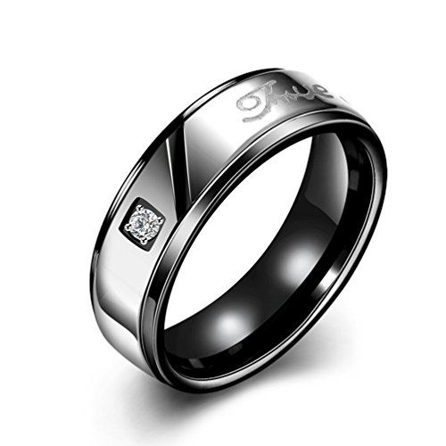 * Penny Deals * - Mens Womens Classic Black 7MM Wedding Bands Titanium Stainless Steel Tungsten Forever Love Promise Rings High Polished Finish Comfort Fit Size 6 316L ** Continue to the product at the image link.