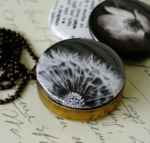 dandelion brass locket necklace