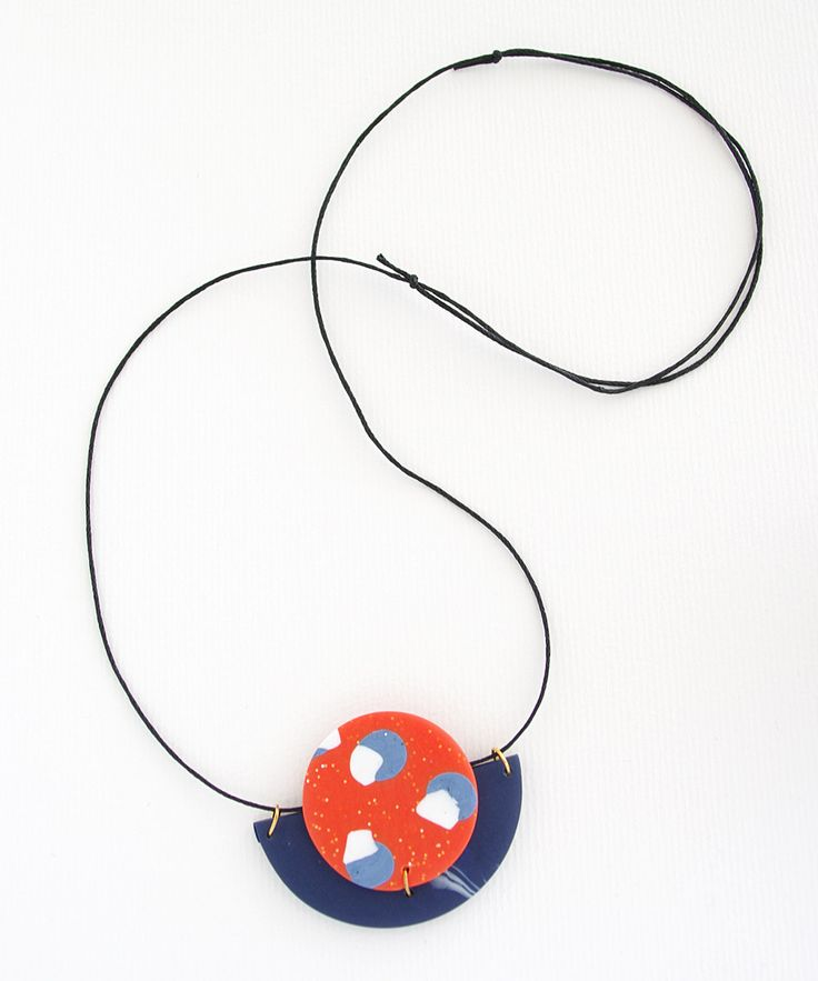 Circle & Half Moon Statement Polymer Clay Necklace in a colour palette of orange, navy blue white and blue grey. by colourwork on Etsy