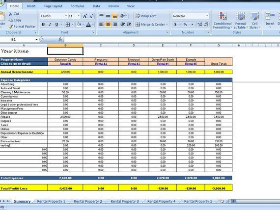 Landlords Spreadsheet Template Rent And Expenses Spreadsheet Short Term Rentals 5 80 Property Template Being A Landlord Spreadsheet Template Rental Property Management