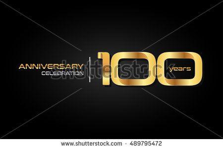 100 years gold anniversary celebration logo, isolated on dark background