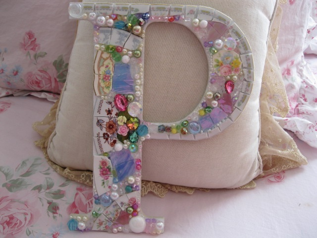 shabby chic mosaic letter