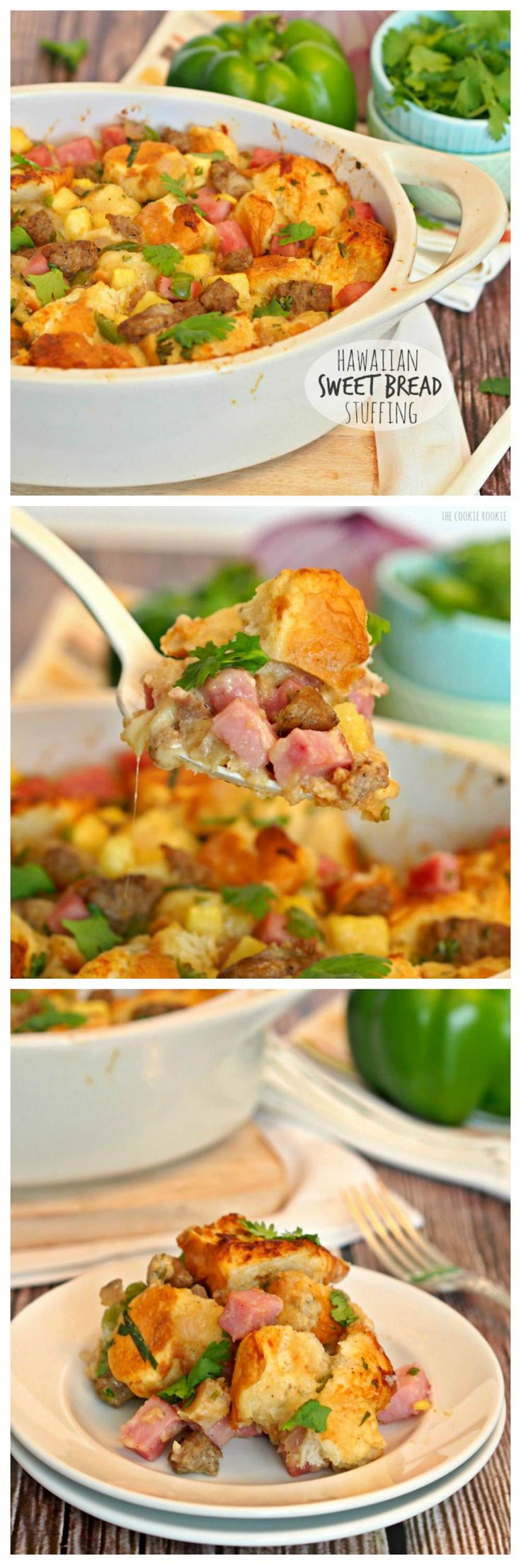 Hawaiian Sweet Bread Stuffing with Jones Sausage and Ham! The perfect unique side dish for Thanksgiving! | The Cookie Rookie