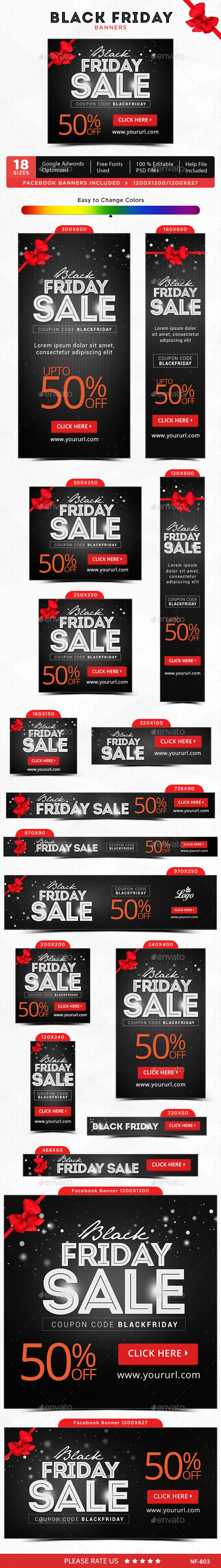 Black Friday Banners — Photoshop PSD #deal #animated banner • Available here → https://graphicriver.net/item/black-friday-banners/13541953?ref=pxcr