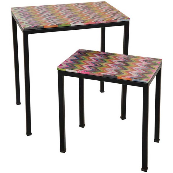 Set of Two Bone Inlay Side Tables