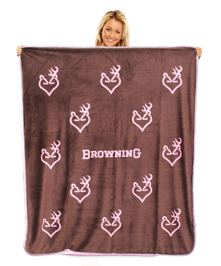 Browning Buckheart Throw Blanket Micro Mink Pink Sherpa Back Buckmark – Camo Chique