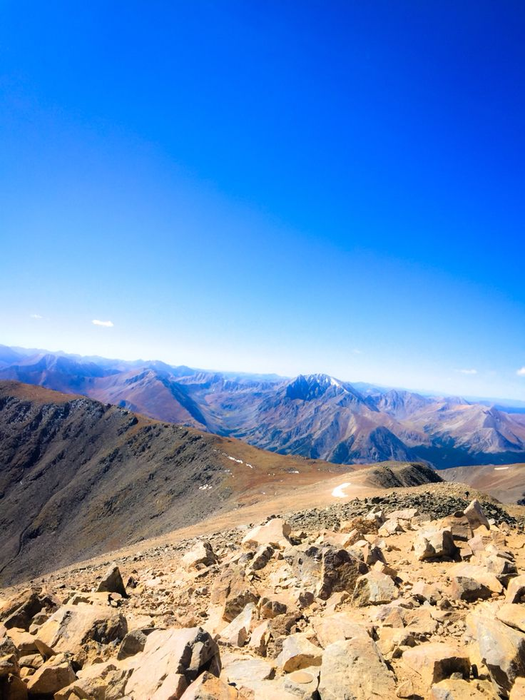 Standing on Mt. Elbert, Colorado. Mount Elbert is the highest summit in the state of Colorado.