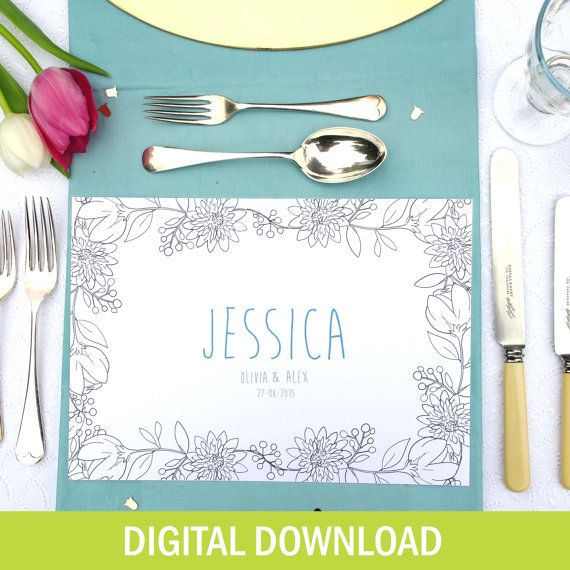 Floral Colouring In Personalised Placemats - DIGITAL DOWNLOAD - Custom - Wedding Activity - Birthday Party - Wedding Favour - For Kids