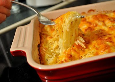 Spaghetti squash au gratin: tastes like hashbrown casserole (without the carbs).  sub sour cream w/ Greek yogurt