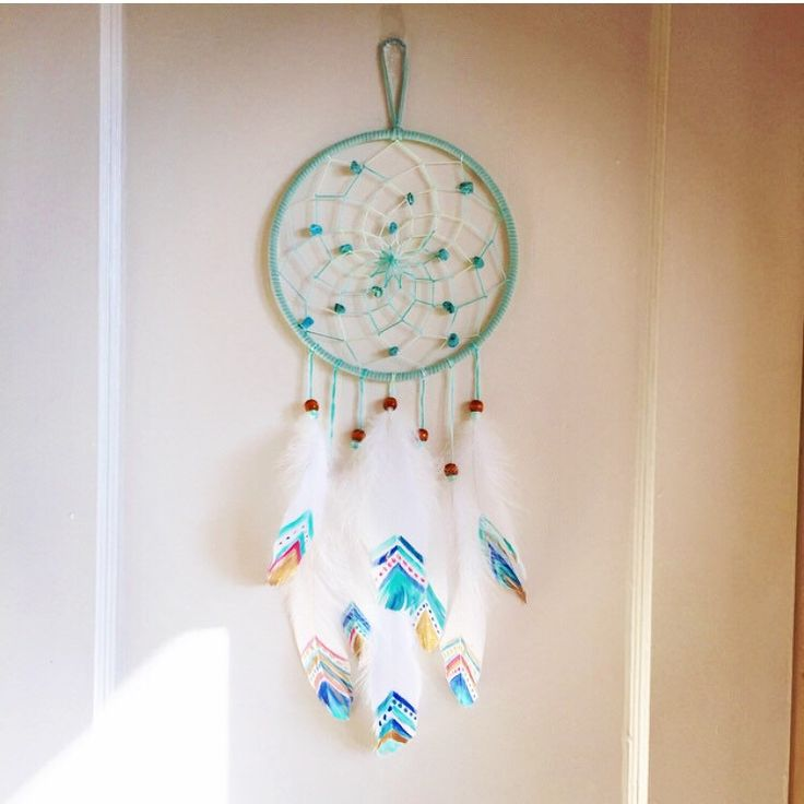 """7"""" Painted Feather Turquoise and Mint Green Dream Catcher by DreamDen on Etsy https://www.etsy.com/listing/211849536/7-painted-feather-turquoise-and-mint"""