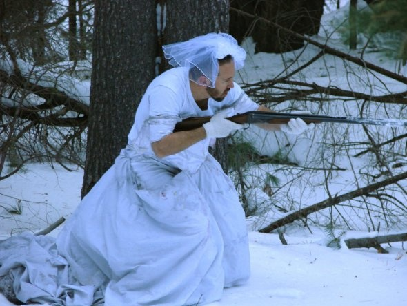 This Man Came Up With 101 Uses For His Ex-Wife's Wedding Dress....  this is snow camo....