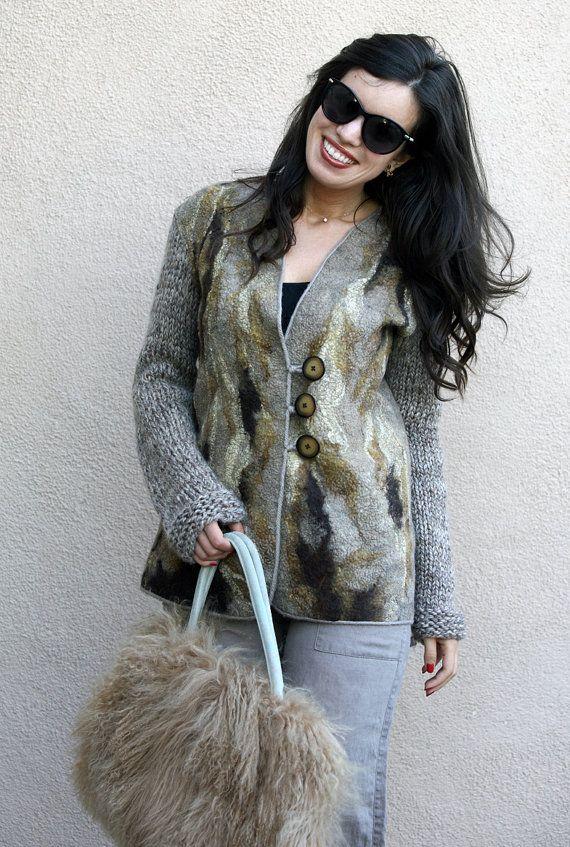 Felt felted eco fashion classy beige brown long jacket woman handmade unique cardigan wool camel alpaca women warm jacket wearable art wear