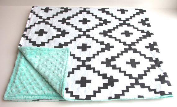 Mint black white southwest diamond minky baby blanket   gender neutral   by WilderAndBean