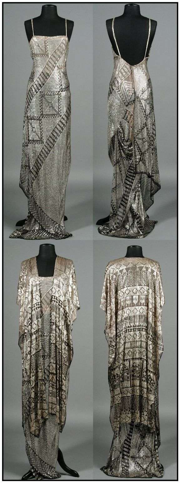 """Barbara Streisand's assiut dress and robe, worn in the movie """"A Star is Born.""""  Photos from the 2004 auction catalog where this ensemble sold for 3600.00.  Barbara actually designed this ensemble herself, and pulled it from her own closet to wear in the movie!"""