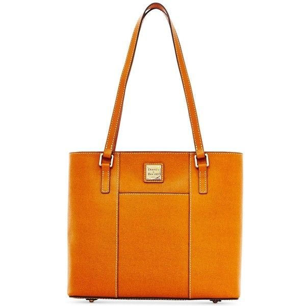 Dooney & Bourke Saffiano Small Lexington Shopper ($228) ❤ liked on Polyvore featuring bags, handbags, tote bags, natural, shopper tote handbags, orange tote bag, shopper purse, orange tote and dooney bourke tote