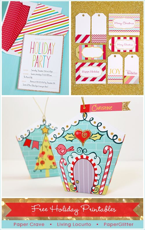 Love these Gold Glitter Holiday Free Printables! Invitation, Tags & Ornament Gift Box. LivingLocurto.com